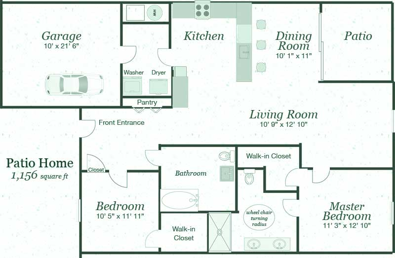 Patio homes floor plans gurus floor for Patio home plans one story